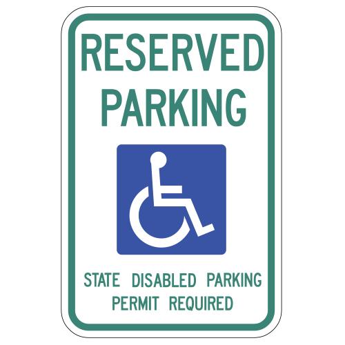 Reserved Parking, with Handicap Symbol Sign (Washington)