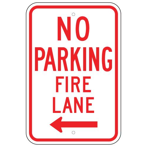 No Parking Fire Lane Sign, Left Arrow
