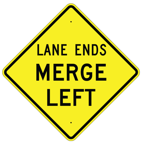 Lane Ends Merge Left Sign
