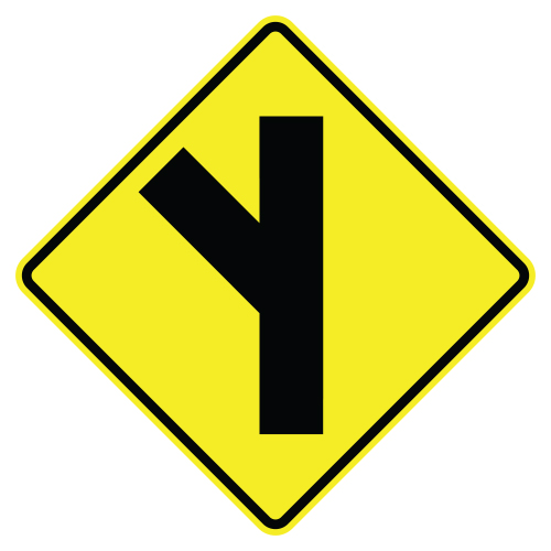 Side Road Symbol Sign, Left diagonal