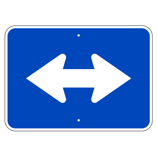 Double Arrow Auxiliary Sign, Blue