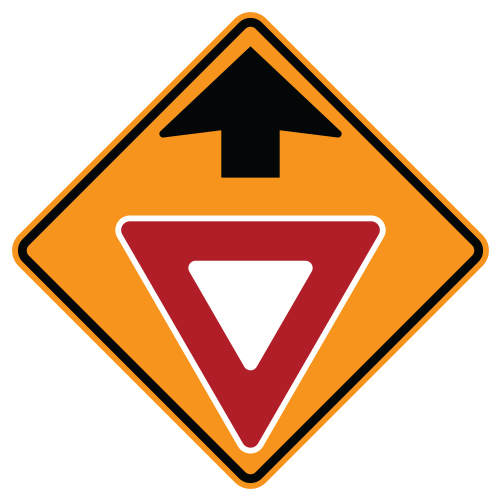 Yield Ahead Symbol Sign, Orange