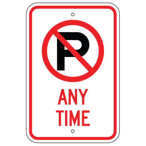 No Parking Symbol, Any Time Sign