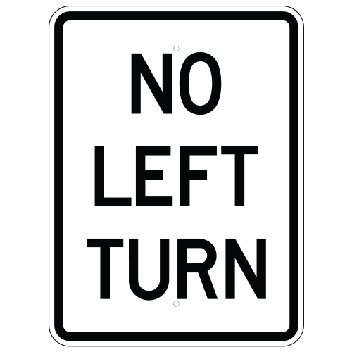 No Left Turn Sign (Vertical)