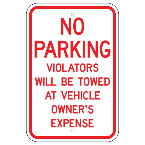 No Parking Violators Will Be Towed Sign