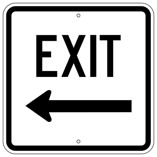 Exit Sign, with Left Arrow (Square)