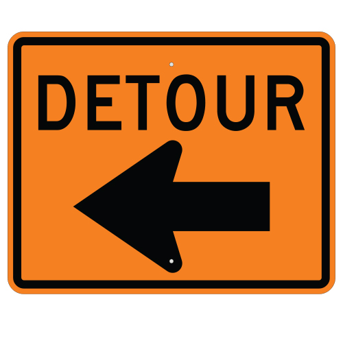 Detour with Left Arrow Sign
