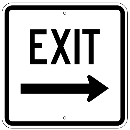 Exit Sign, with Right Arrow (Square)