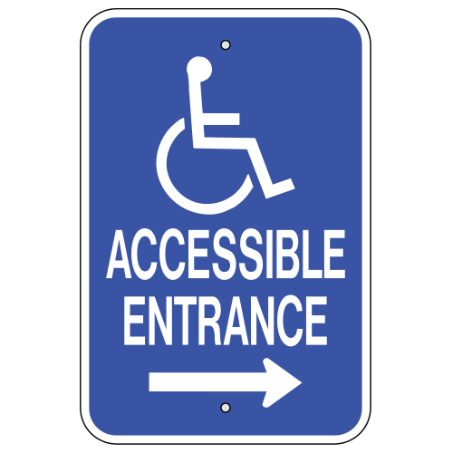 Accessible Entrance, with Handicap Symbol & Right Arrow Sign