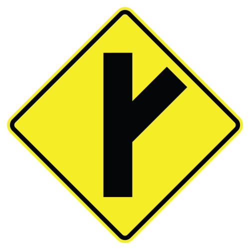 Side Road Symbol Sign, Right diagonal