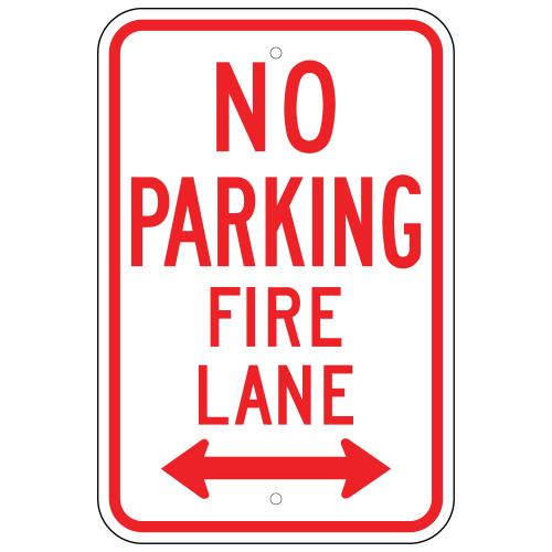 No Parking Fire Lane Sign, Double Arrow