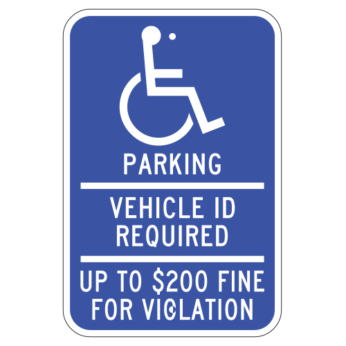 Handicap Symbol, Parking, Vehicle ID Required Sign (Minnesota)