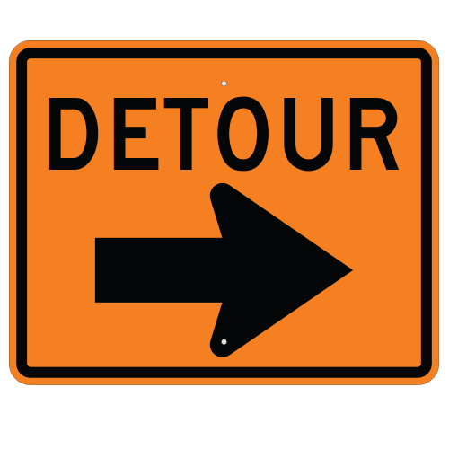 Detour with Right Arrow Sign