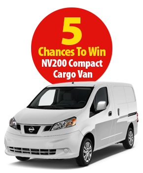 5 Chances to Win a Nissan NV Compact Cargo Van