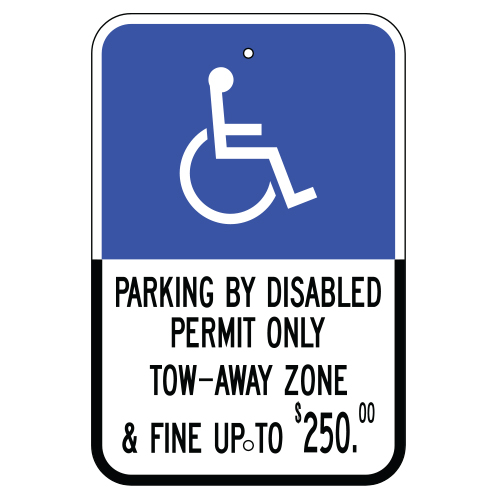 Handicap Symbol, Parking by Disabled Permit Fine Sign (Florida)