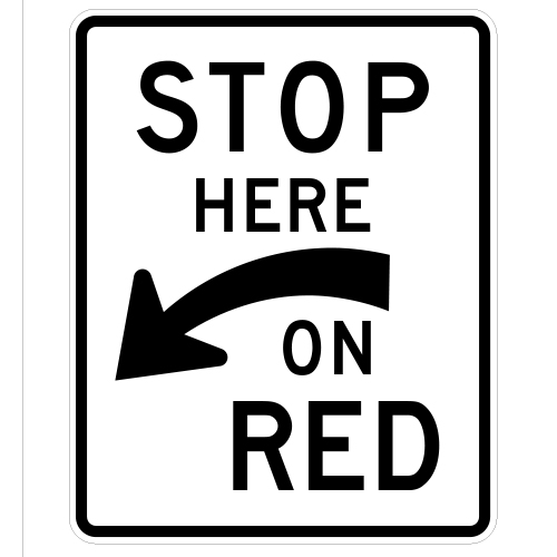 Stop Here On Red Sign (curved arrow)