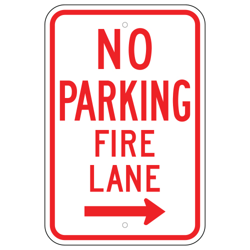 No Parking Fire Lane Sign, Right Arrow