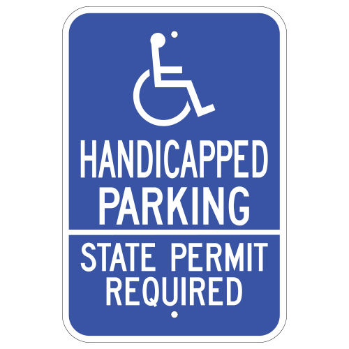 Handicapped Parking State Permit Required, with Symbol Sign