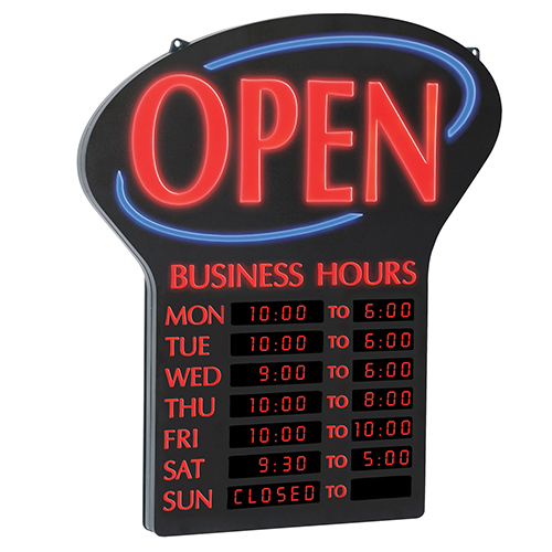 Digital Open Business Hours Sign