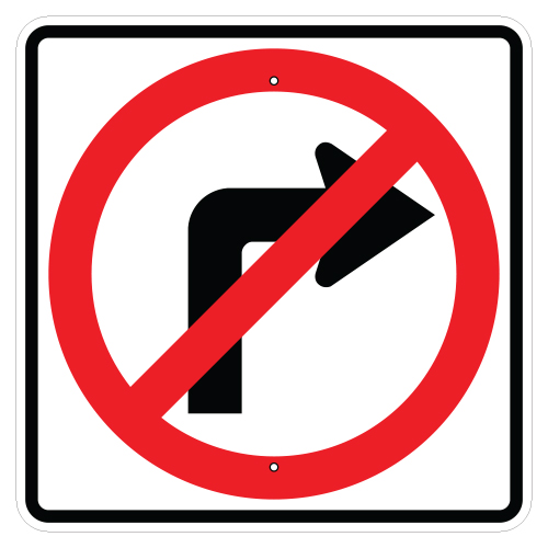 No Right Turn Symbol Sign