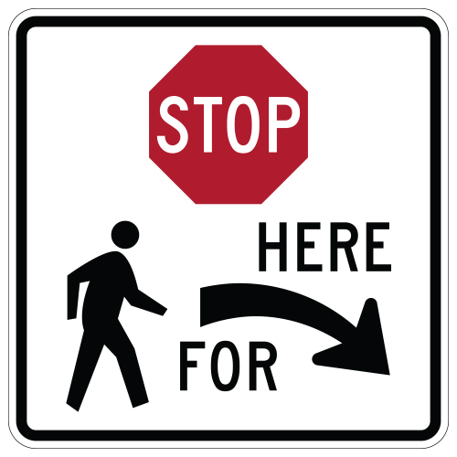 Stop Here for Pedestrians Symbol Sign, Right