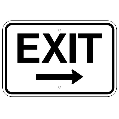 Exit Sign, with Right Arrow (Horizontal)