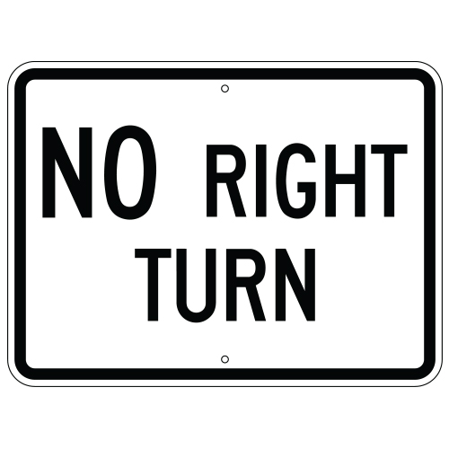 No Right Turn Sign (Horizontal)