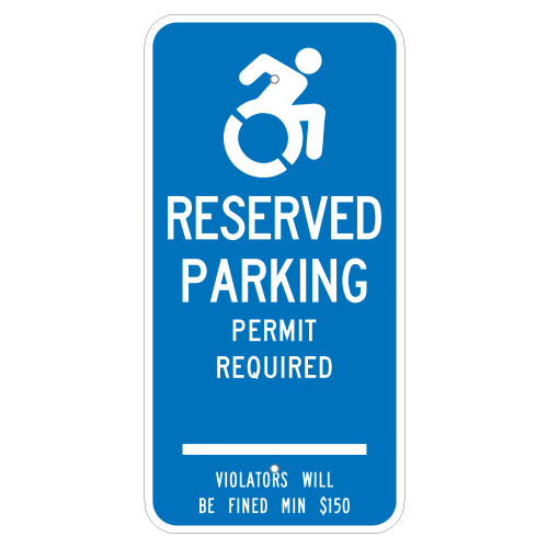 Handicapped Parking Permit Required Sign (Connecticut)