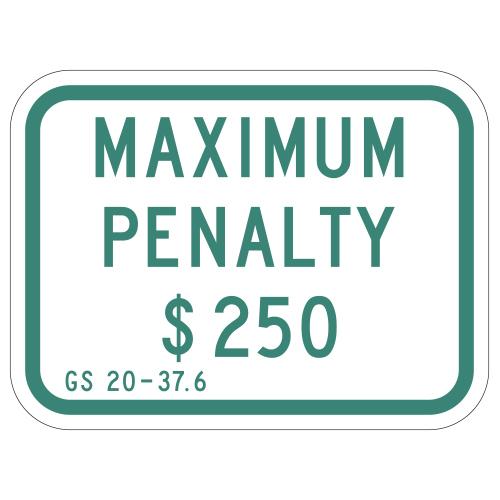 Maximum Penalty $250 Sign (North Carolina)