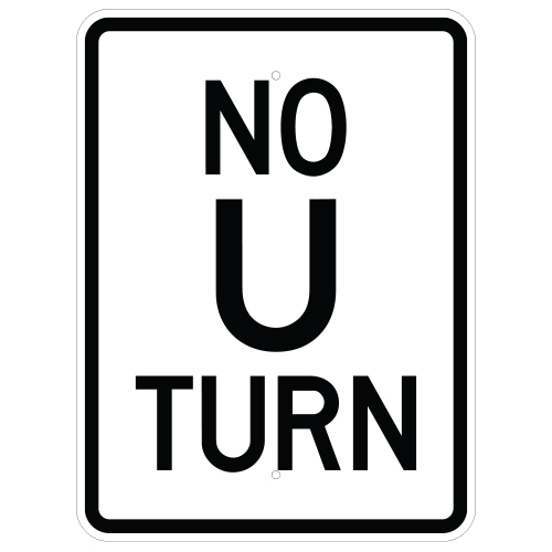 No U Turn Sign (Vertical)