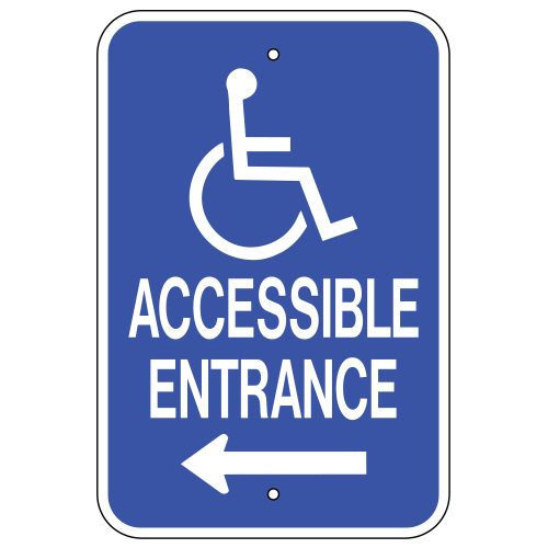 Accessible Entrance, with Handicap Symbol & Left Arrow Sign
