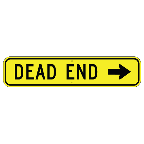 Dead End, with Right Arrow Sign
