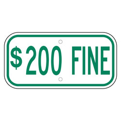 $200 Fine Sign, Green