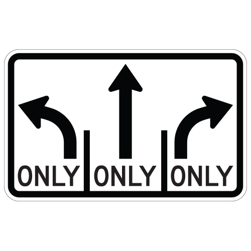 Advance Intersection 3 Lane Control Sign (mandatory middle)