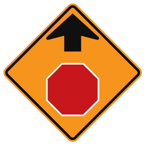 Stop Ahead Symbol Sign, Orange