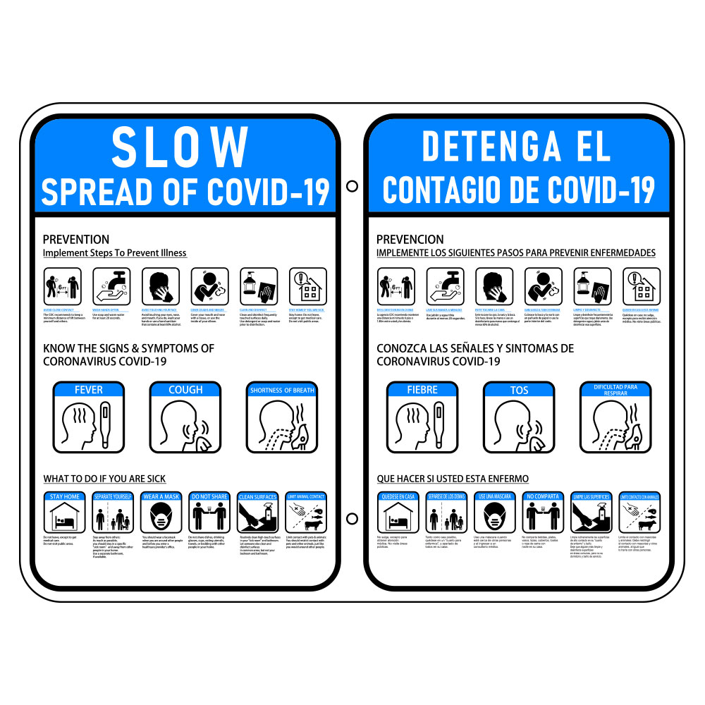 Slow the Spread of COVID-19 Sign - Bilingual