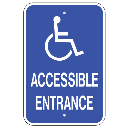 Accessible Entrance, with Handicap Symbol Sign