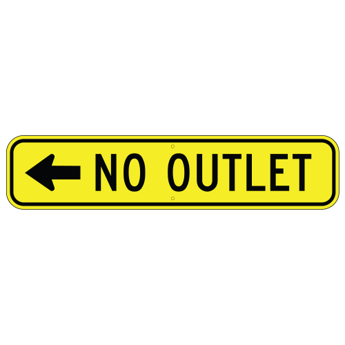 No Outlet, with Left Arrow Sign