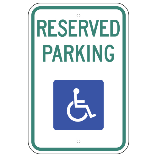 Reserved Parking, with Handicap Symbol Sign