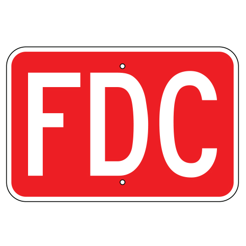Fire Department Connection (FDC) Sign, Red