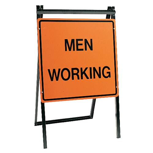 A-Frame Construction Stand with Men Working Sign