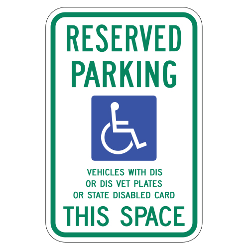 Reserved Parking, with Handicap Symbol, This Space Sign (Wisconsin)