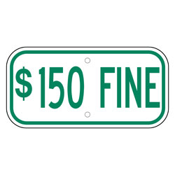 $150 Fine Sign, Green