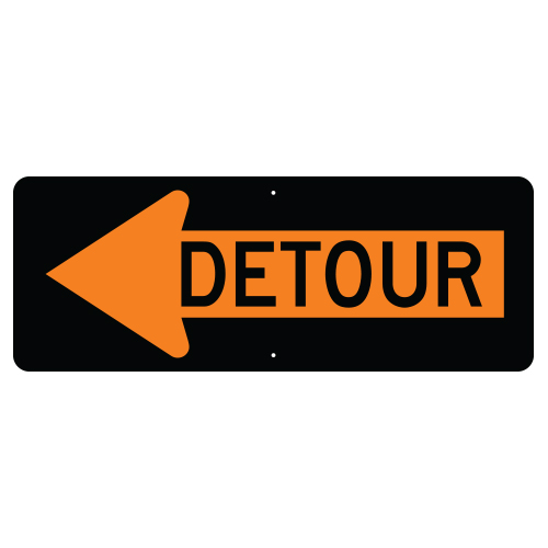 Detour inside Left Arrow Sign