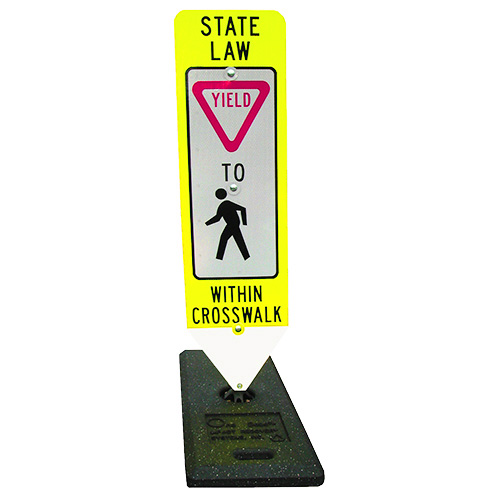 Pedestrian Crosswalk Yield Sign & Base