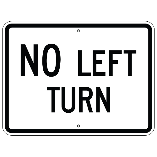 No Left Turn Sign (Horizontal)