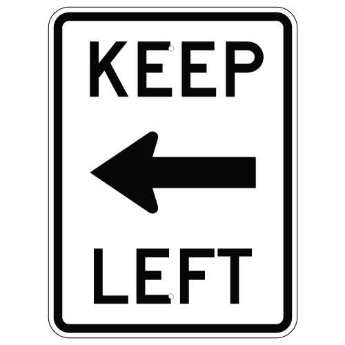 Keep Left with Arrow Sign