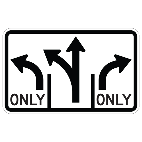Advance Intersection 3 Lane Control Sign (optional middle)