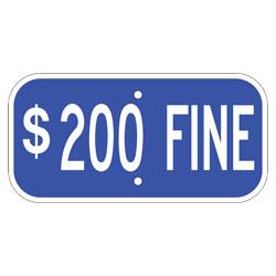 $200 Fine Sign, Blue