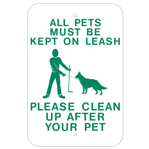 All Pets Must Be Kept On Leash Sign